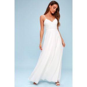 LuLu's Georgianna White Lace-Up Maxi Dress